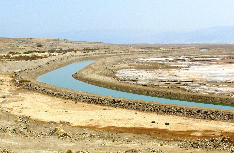 Water Canal between Basins of Dead Sea