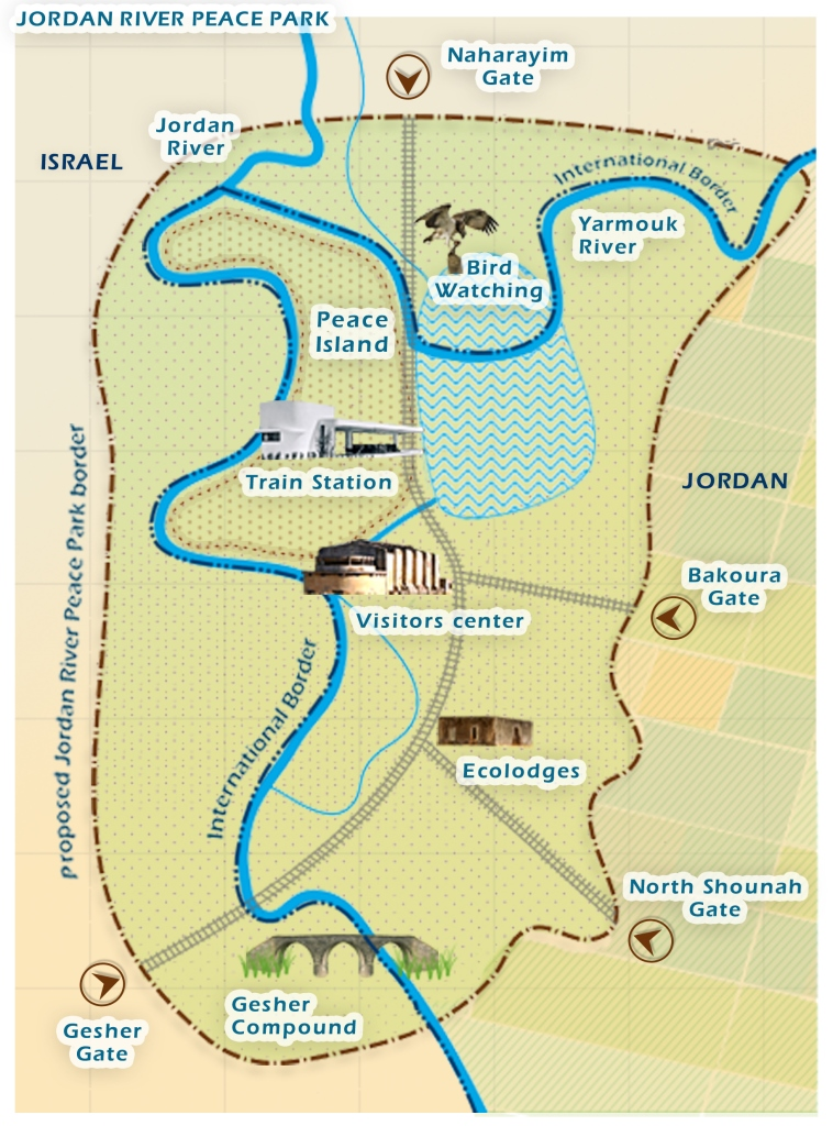 Map of proposed Jordan River Peace Park