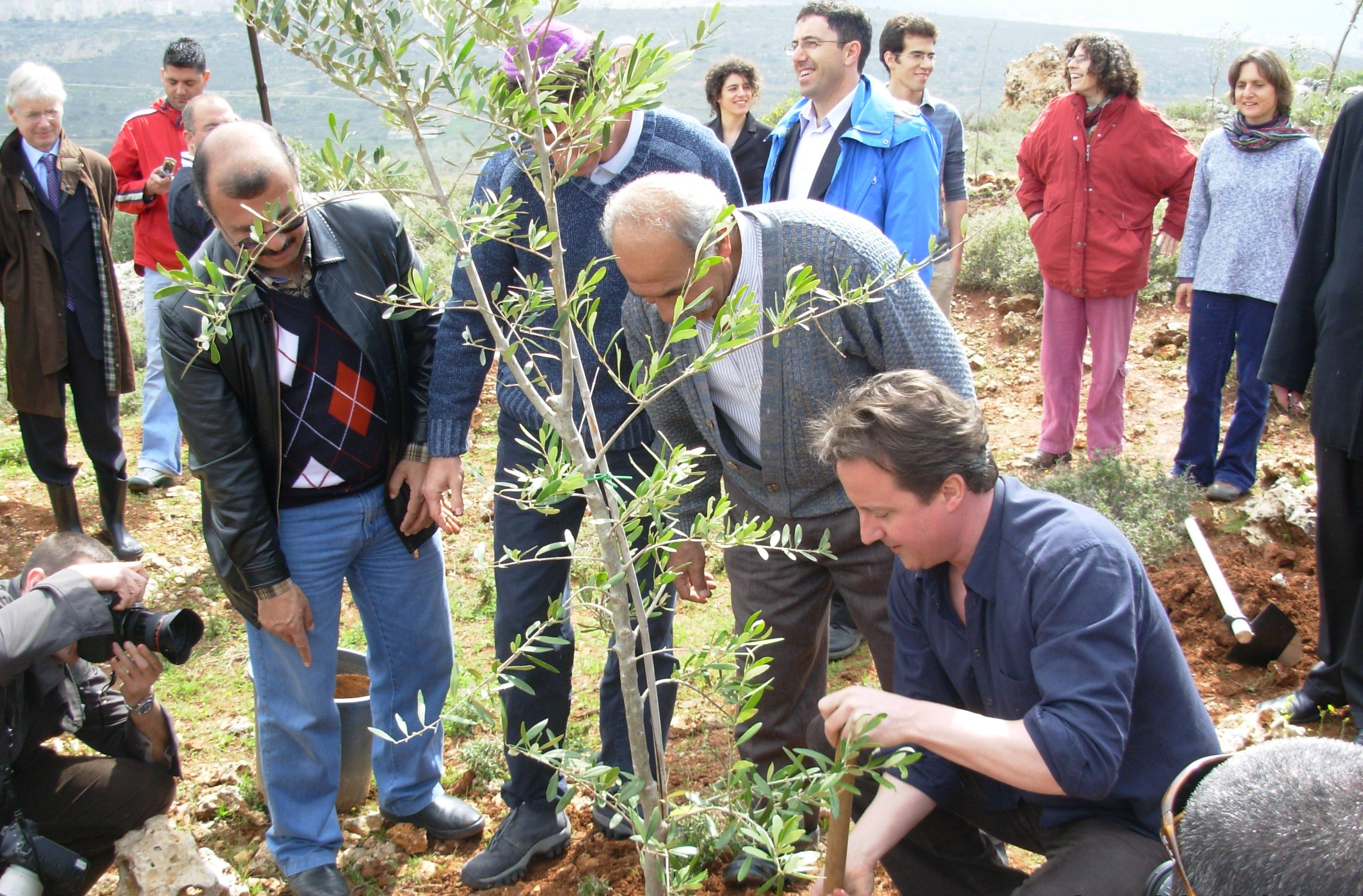 UK David Cameron planting tree on Green Line at Wadi Fukin, Palestine